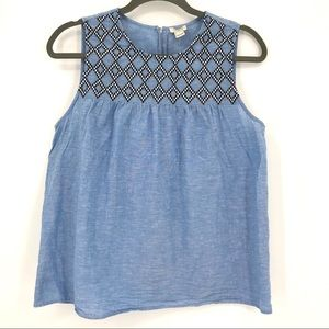 J. Crew Factory embroidered chambray tank size 12